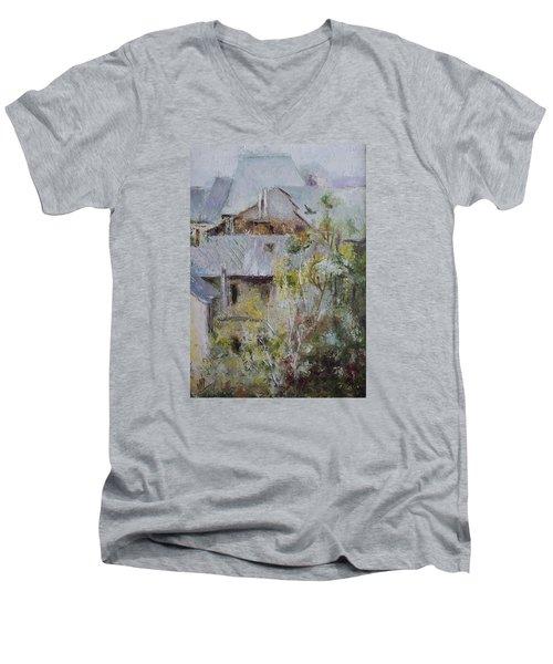 Over City Men's V-Neck T-Shirt by Vali Irina Ciobanu