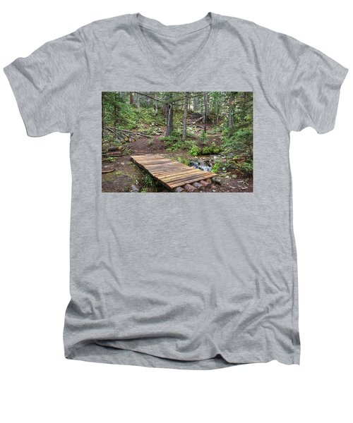 Men's V-Neck T-Shirt featuring the photograph Over The Bridge And Through The Woods by James BO Insogna