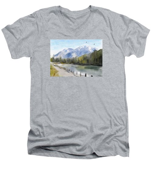 Men's V-Neck T-Shirt featuring the painting Over The Mountains by Wayne Pascall
