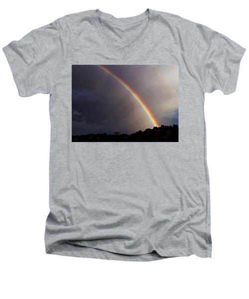 Over The Rainbow Men's V-Neck T-Shirt by Joseph Frank Baraba