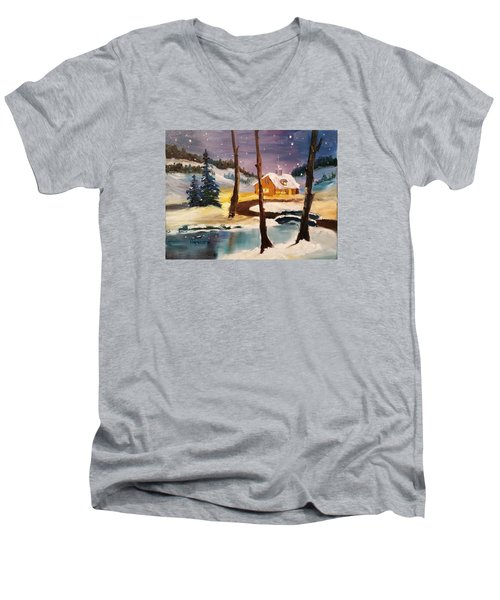 Over The River Men's V-Neck T-Shirt by Larry Hamilton