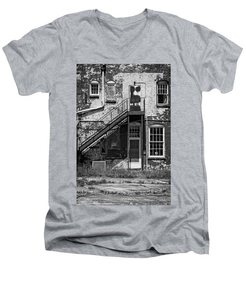 Men's V-Neck T-Shirt featuring the photograph Over Under The Stairs - Bw by Christopher Holmes