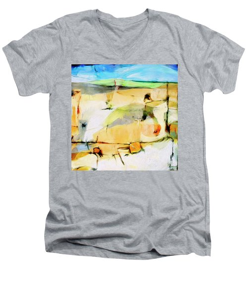 Men's V-Neck T-Shirt featuring the painting Overlook by Dominic Piperata