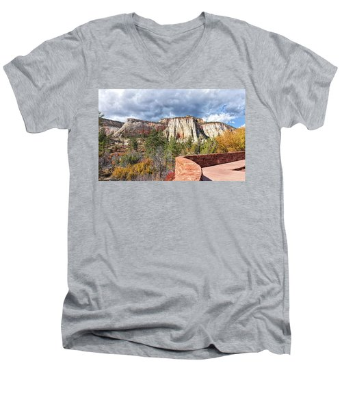 Men's V-Neck T-Shirt featuring the photograph Overlook In Zion National Park Upper Plateau by John M Bailey