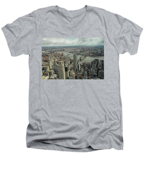 Overlooking Manhattan's East River  Men's V-Neck T-Shirt