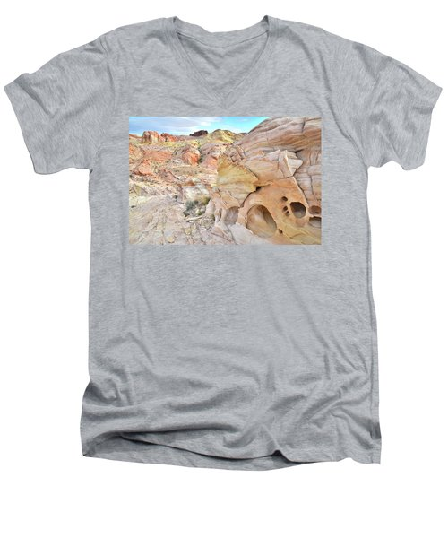 Overlooking Wash 5 In Valley Of Fire Men's V-Neck T-Shirt by Ray Mathis