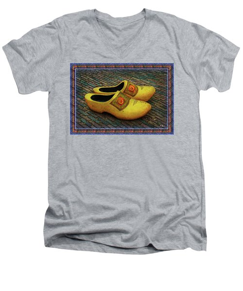 Men's V-Neck T-Shirt featuring the photograph Oversized Dutch Clogs by Hanny Heim