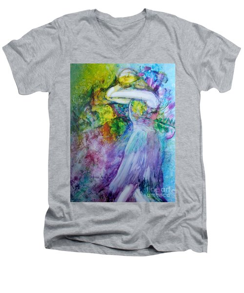 Men's V-Neck T-Shirt featuring the painting Overwhelming Love by Deborah Nell