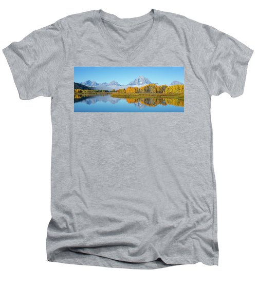 Oxbow Bend Pano In Autumn Men's V-Neck T-Shirt