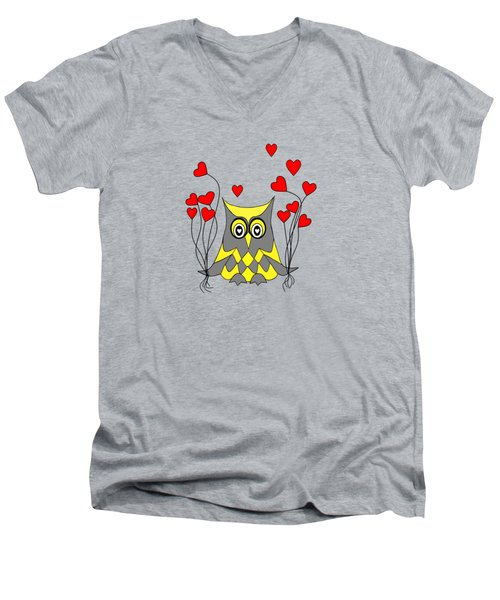 Owl Always Love You Men's V-Neck T-Shirt by Kathleen Sartoris