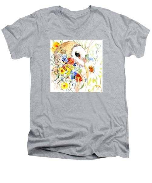Owl And Flowers Men's V-Neck T-Shirt