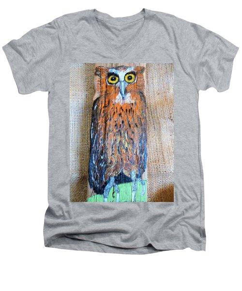 Owl Men's V-Neck T-Shirt by Ann Michelle Swadener