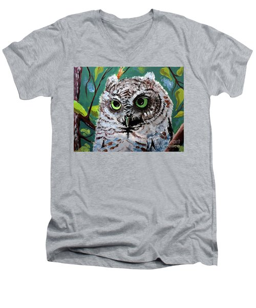 Men's V-Neck T-Shirt featuring the painting Owl Be Seeing You by Tom Riggs