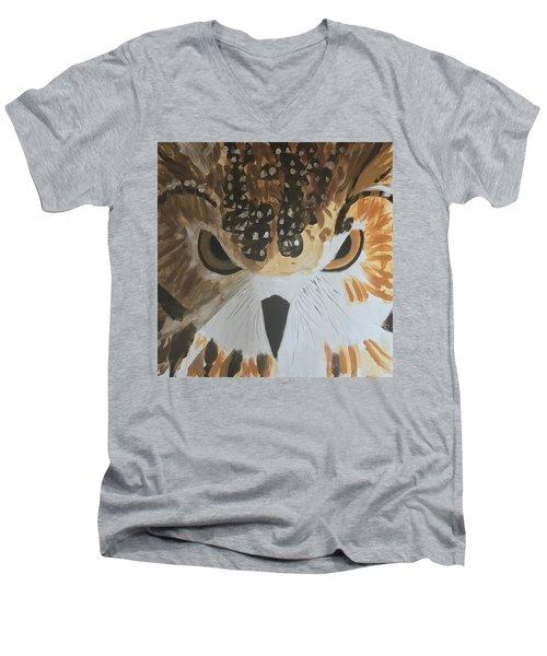 Owl Men's V-Neck T-Shirt by Donald J Ryker III