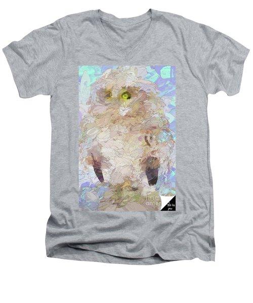 Men's V-Neck T-Shirt featuring the digital art OWL by Jim  Hatch