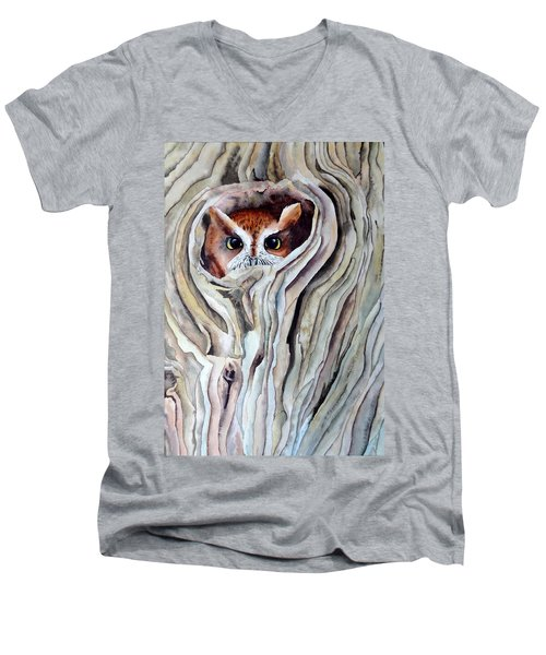 Men's V-Neck T-Shirt featuring the painting Owl by Laurel Best