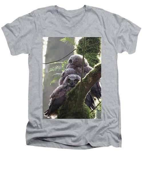 Owl Morning Men's V-Neck T-Shirt by I'ina Van Lawick