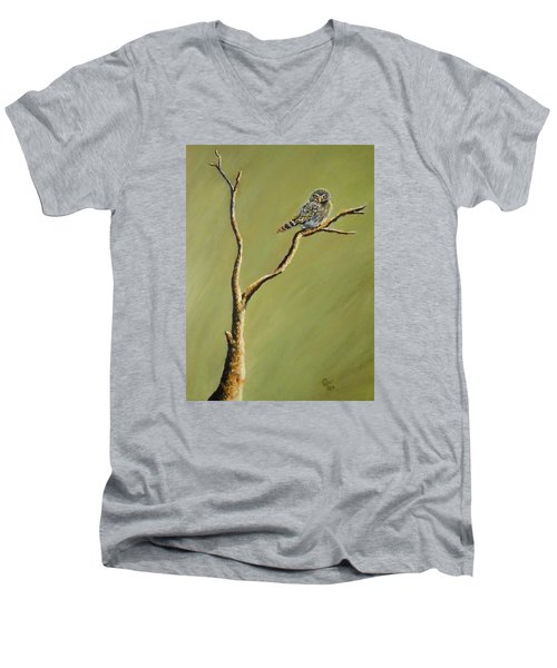 Owl On A Branch Men's V-Neck T-Shirt