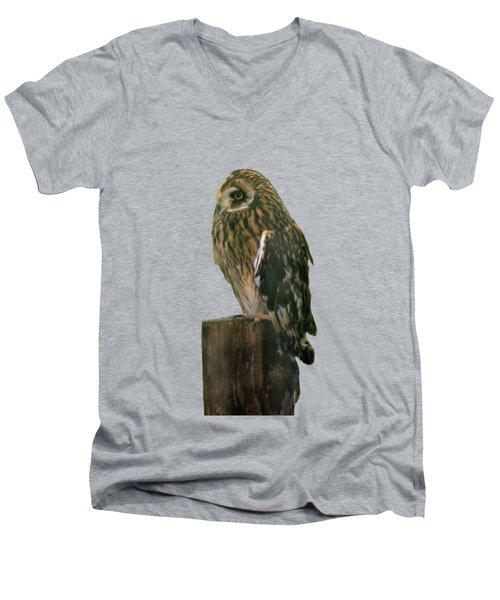 Owl Men's V-Neck T-Shirt by Pamela Walton