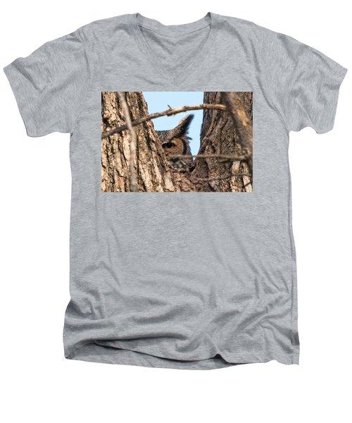 Owl Peek Men's V-Neck T-Shirt by Steve Stuller