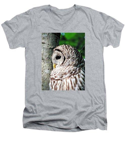 Owl Profile Men's V-Neck T-Shirt by Christy Ricafrente