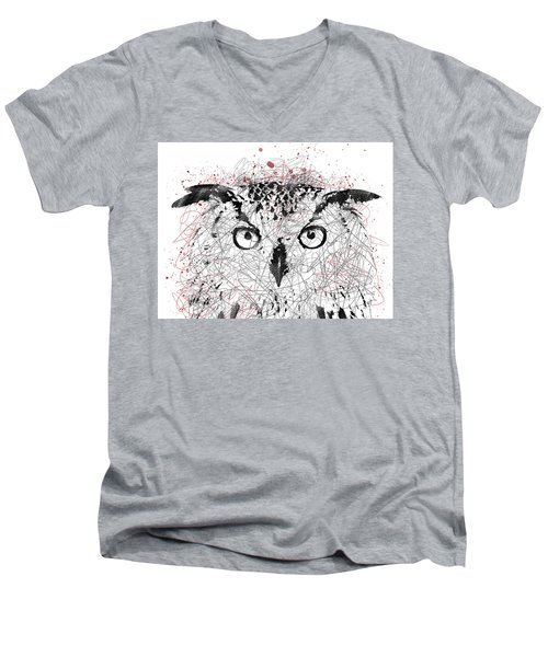 Owl Sketch Pen Portrait Men's V-Neck T-Shirt