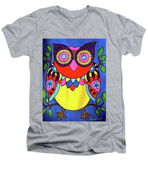Owl Men's V-Neck T-Shirt by Stephanie Moore