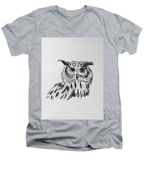 Owl Study 2 Men's V-Neck T-Shirt by Victoria Lakes