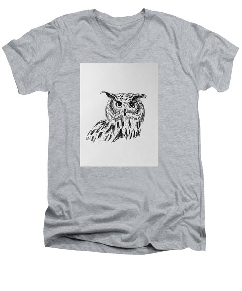 Men's V-Neck T-Shirt featuring the drawing Owl Study 2 by Victoria Lakes