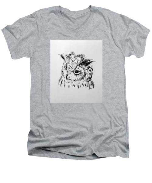 Men's V-Neck T-Shirt featuring the drawing Owl Study by Victoria Lakes