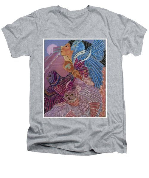 Owl Woman At Chichen Itza Men's V-Neck T-Shirt