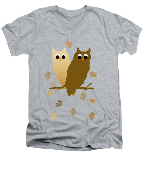 Owls Pattern Art Men's V-Neck T-Shirt by Christina Rollo