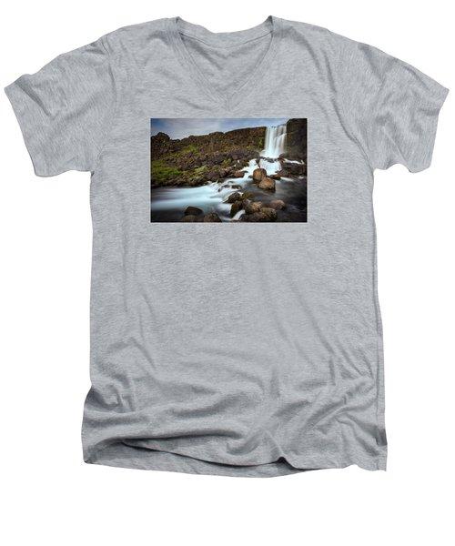 Oxararfoss Men's V-Neck T-Shirt by Brad Grove
