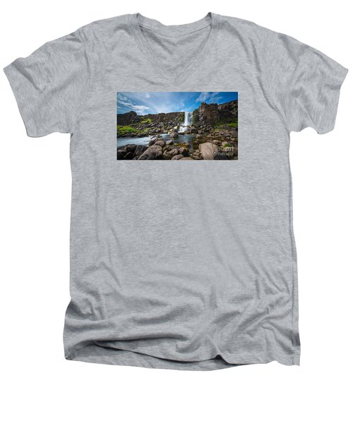 Oxararfoss Waterfall  Men's V-Neck T-Shirt
