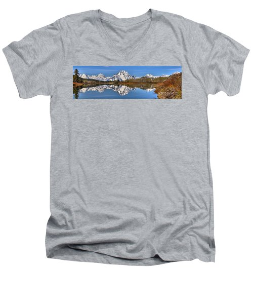 Oxbow Snake River Reflections Men's V-Neck T-Shirt by Adam Jewell