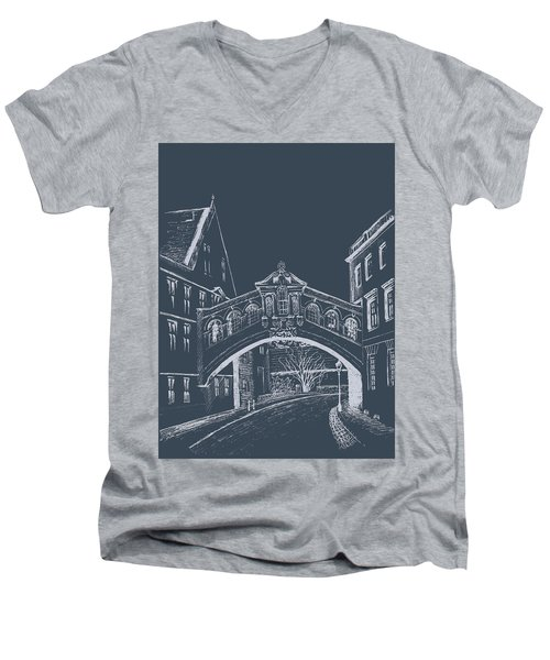 Men's V-Neck T-Shirt featuring the digital art Oxford At Night by Elizabeth Lock