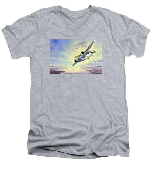 Men's V-Neck T-Shirt featuring the painting P-38 Lightning Aircraft by Bill Holkham