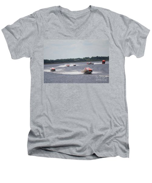 Men's V-Neck T-Shirt featuring the photograph P1 Powerboats Orlando 2016 by David Grant