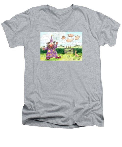 Pigs Might Fly    P8 Men's V-Neck T-Shirt by Charles Cater
