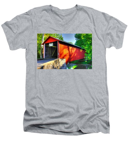 Pa Country Roads - Witherspoon Covered Bridge Over Licking Creek No. 4b - Franklin County Men's V-Neck T-Shirt