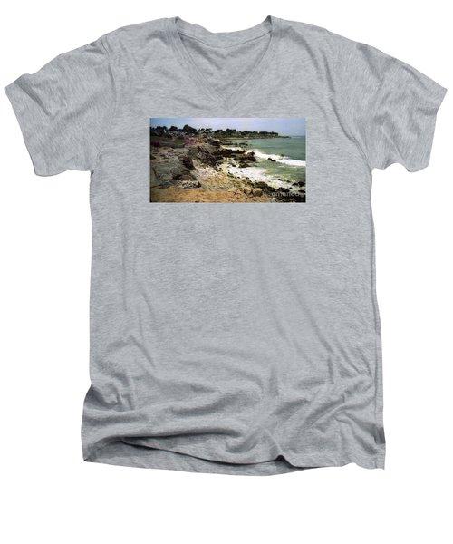 Pacific California Coast Beach Men's V-Neck T-Shirt by Ted Pollard