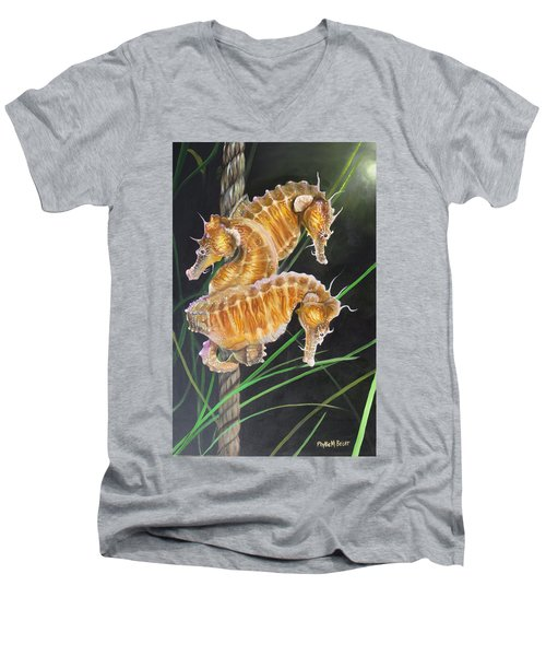 Pacific Lined Seahorse Trio Men's V-Neck T-Shirt by Phyllis Beiser