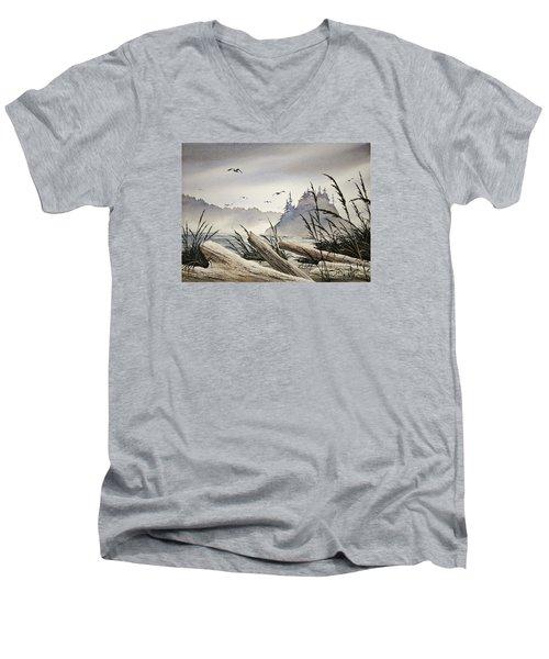 Pacific Northwest Driftwood Shore Men's V-Neck T-Shirt