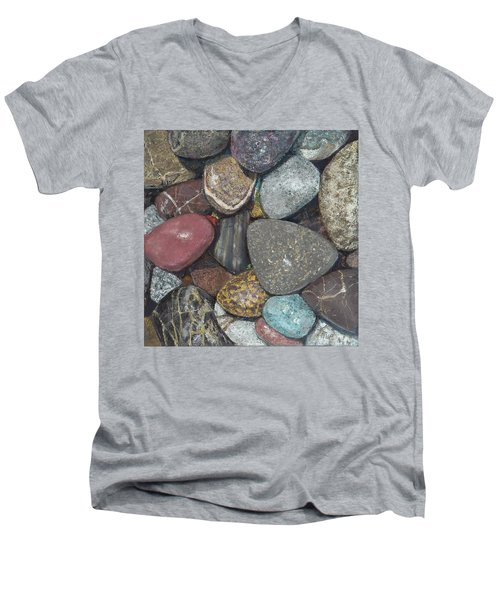 Pacific Nw Beach Rocks Men's V-Neck T-Shirt