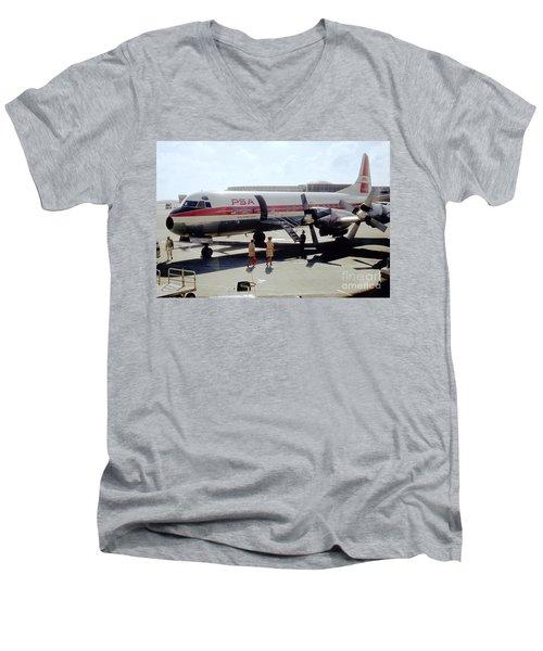 Pacific Southwest Airlines Lockheed L-188c, N376ps Men's V-Neck T-Shirt