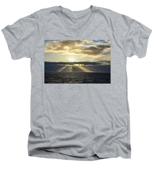 Men's V-Neck T-Shirt featuring the photograph Pacific Sunset by Allen Carroll