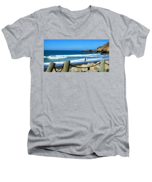 Men's V-Neck T-Shirt featuring the photograph Pacifica Coast by Glenn McCarthy Art and Photography