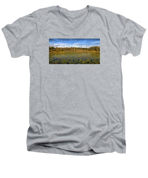 Men's V-Neck T-Shirt featuring the photograph Pad City by Steve Sperry