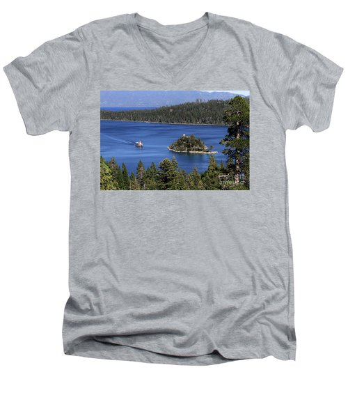 Paddle Boat Emerald Bay Lake Tahoe California Men's V-Neck T-Shirt