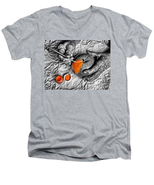 Paint An Orange Men's V-Neck T-Shirt